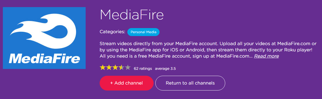 MediaFire Roku Channel