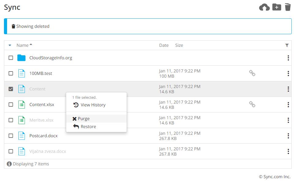 Sync.com Review Trash feature