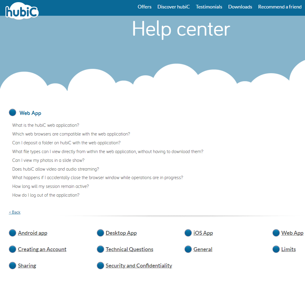 hubiC cloud storage help center