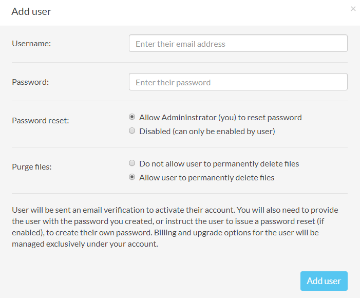 Sync.com Business Review Add Users Settings