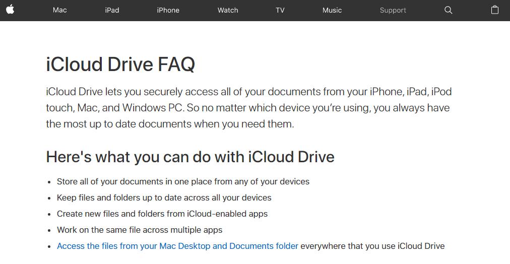 iCloud Drive FAQ