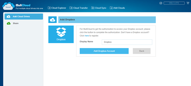 MultCloud Add Dropbox