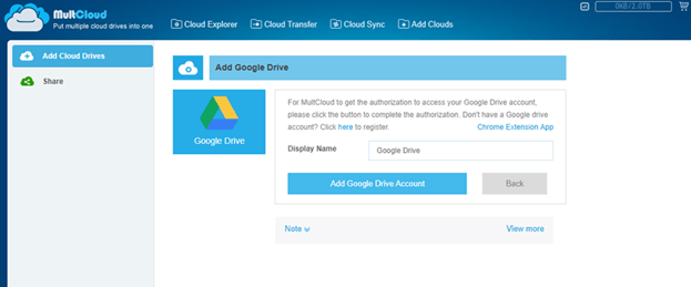 MultCloud Add Google Drive