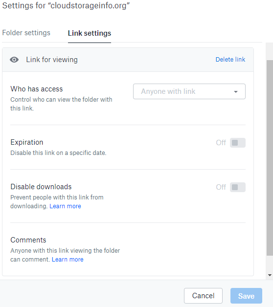 Dropbox Review Share Settings