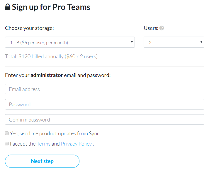 Sync.com Business Pro Teams plan sign-up