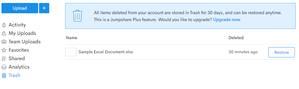 JumpShare Review Trash