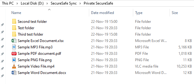 SecureSafe Review Desktop client folder