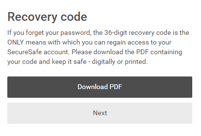 SecureSafe Review Recovery Code