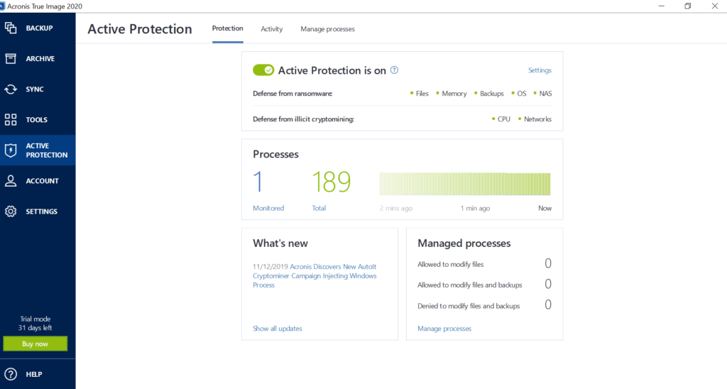 Acronis True Image Review - Active Protection