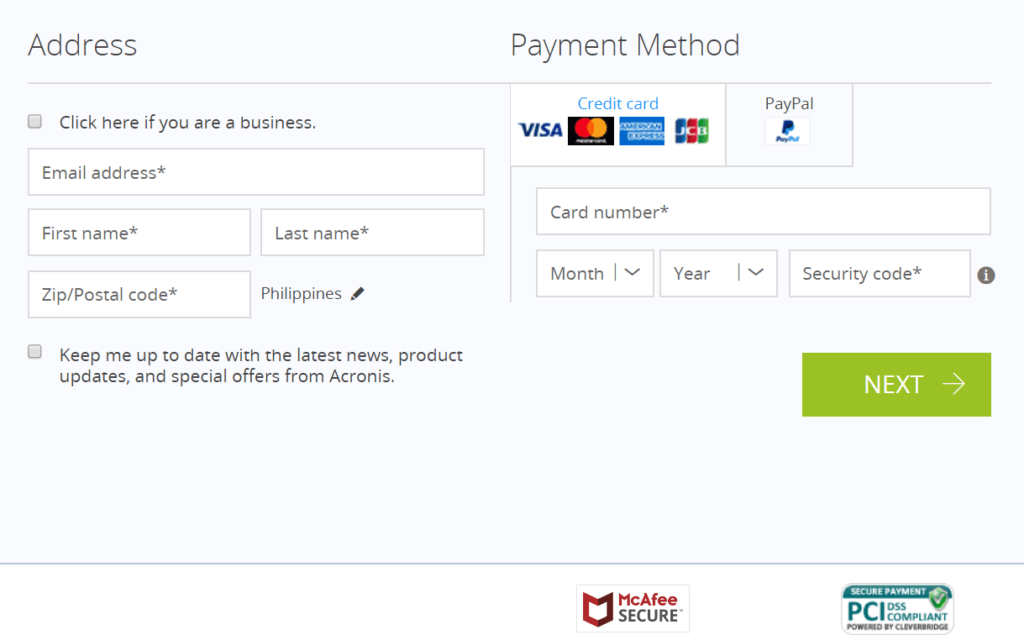 Acronis True Image Review - Payment Method