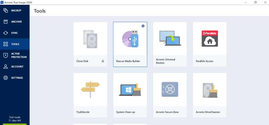 Acronis True Image Review - Tools
