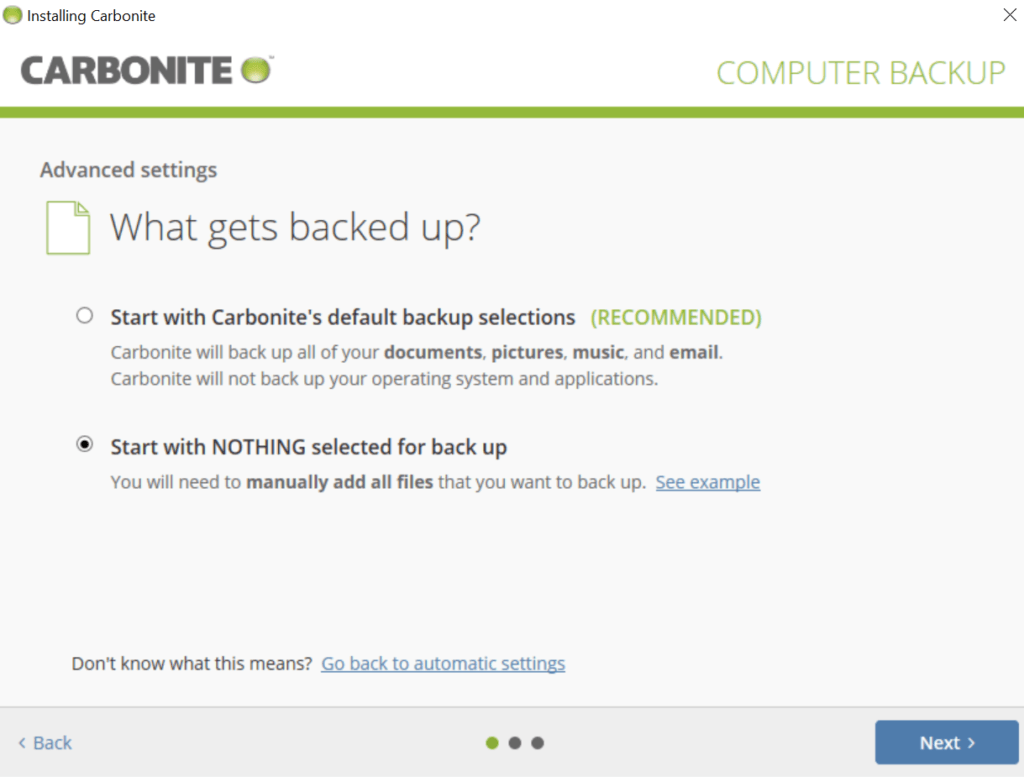 Carbonite Review - Advanced Settings During Installation