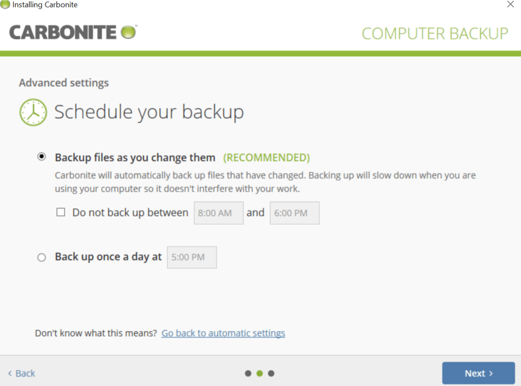 Carbonite Review - Backup Schedule