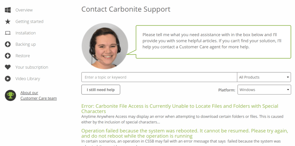 Carbonite Review - Support 2