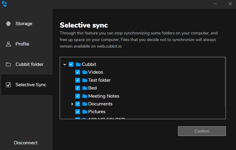 Cubbit Review Selective Sync