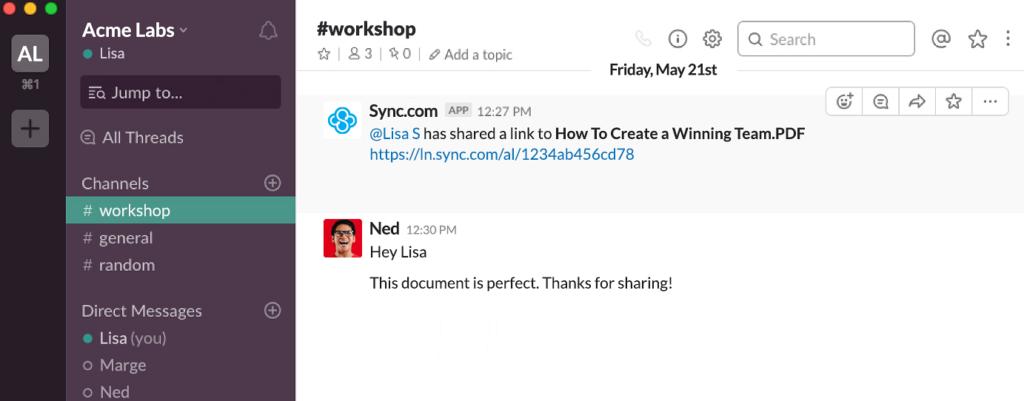 Sync.com Review Slack Integration